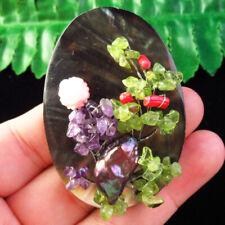Abalone Shell/Amethyst/Pearl Shell/Prehnite/Red Coral Pendant Brooch Q00393