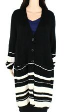 Style & Co Womens Sweater Black White 3X Plus Striped Button Up Cardigan $89 098