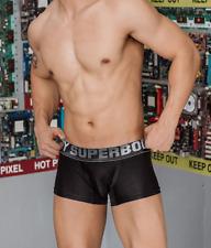 Mens Small Black Shiny Metallic Soft Satin Nylon Boxer Briefs Underwear Gay UK