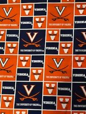 "University of Virginia Block Design Cotton Fabric 1/2 Yard x 44"" Wide Sykel"