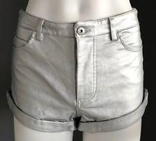 NWOT BARDOT Silver Vegan Leather Cuffed Shorty Shorts Size 8