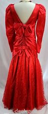 Vintage RED DRESS COCKTAIL Formal GOWN Shimmer Lace Mermaid Bow SIZE 7 8 VTG 80s