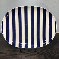 """Lenox Kate Spade Sag Harbor Navy 13 3/8"""" X 10 1/4"""" Oval Serving Platter"""
