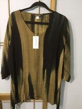 NWT Modesce TunicTop Annie L Black/ Khaki Painted Rayon
