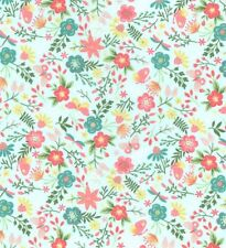 Aqua Mint Pink roses Butterfly floral fabric Extra Wide 100% cotton  HALF METRE