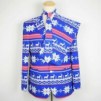 OPPO SUITS Men's 44 - Blue & red Christmas reindeer novelty suit jacket & pants