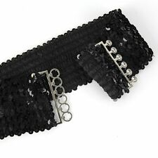 New Womens Elastic Sequin Belly Belt Stretch Waistband Buckle Corset Wide 4color