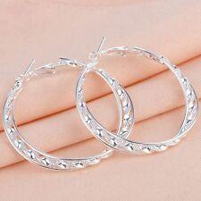 Women Fashion 925 silver Hoop Stud Dangle Earrings Wedding Engagement Jewelry
