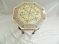 "Egyptian Inlaid Mother of Pearl Paua Wood Room Table Hexagonal 12"" From Egypt"