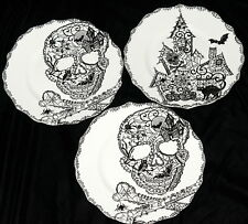 222 Fifth Wiccan Lace * 3 SALAD PLATES * Skulls & Haunted House Halloween NEW