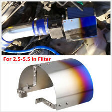"2.5-5.5"" Universal Stainless Steel Blue Heat Shield Cone Air Intake Filter Cover"