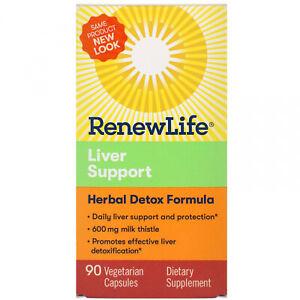 Renew Life, Liver Support, Herbal Detox Formula, 90 Vegetarian Capsules