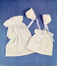 Baby Knitting Pattern Copy Lacy Christening Dress Short Dress 2 Styles Bonnets