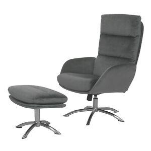 Grey Velvet Swivel Armchair with Footstool - Tyra