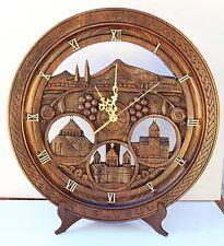 ARARAT and church Armenian Handmade Handcrafted walnut Wood Decor Armenia clock