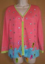Jack B Quick Womens MEDIUM Cardigan sweater, Coral, multi color, beach, sandals,