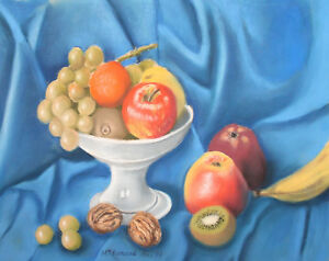 1998 Pastel Painting Still life with fruits signed