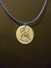 Handmade Personalized Name Hand Stamped Necklace Aluminum with Butterfly Charm
