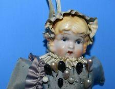 "Vintage Antique Hanging Pin Cushion Doll, Porcelain-China Head, 9"" Tall Original"
