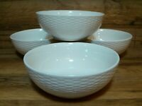 SET OF 4 -TABLETOPS UNLIMITED - WHITE BASKETWEAVE SOUP SALAD CEREAL BOWLS