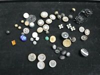 Lot of Antique Buttons-Glass-Plastic-Victorian-Brass