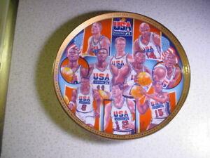 "1992 USA NBA OLYMPIC TEAM PLATE MICHAEL JORDAN, SCOTTIE PIPPEN, LARRY BIRD 8.5"""