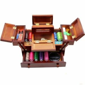 Natural Wood Sewing Box Patch Needlework Knitting Organizer With Accessories