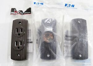 NEW Set DECO Vintage Style BROWN Surface Mount SWITCH, OUTLET, CHAIN LAMP HOLDER