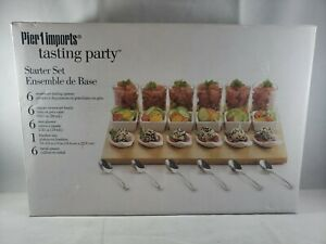 Pier 1 Imports Tasting Party Starter Set of 25 Pieces Includes Bamboo Display