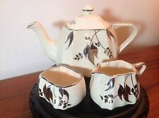 Vtg Sandland Ware Staffordshire England Silver Lustre Teapot Sugar & Creamer Set