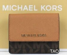Michael Kors Jet Set Travel Card Coin Case Holder Key Ring Wallet PVC Brown New