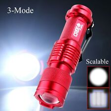 Portable CREE 1200LM Q5 LED Zoom Adjustable 3Modes Torch Penlight Lamp Red SK68