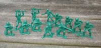 "VINTAGE Lot of 12 GREEN Hard Plastic WW2 ARMY MEN FIGURES 2"" VARIED POSES"