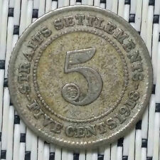 Straits Settlements - 1918 - 5 Cents George V Silver #CPC