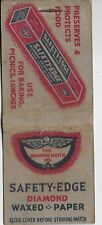 Vintage Matchbook The Diamond Match Co. Safety-Edge Diamond Waxed Paper WORN