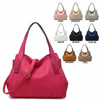 Ladies Leather Style Slouch Handbag Shoulder Bag Bucket Tote Bag Handbag 34275