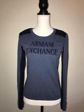 WOMENS ARMANI EXCHANGE SWEATER SIZE MEDIUM AX BLUE NAVY CREW LOGO 100% COTTON