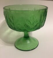 Vintage Retro Green Glass Footed Planter Vase Oak Leak Marked 1978 FTD