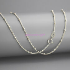 """Genuin Solid 925 Sterling Silver Curb Chain Necklace 16"""" Inches Italy W/ Bead"""