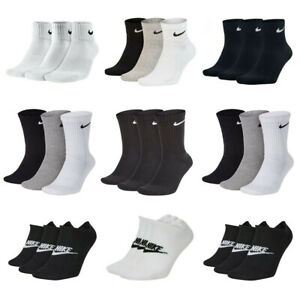 Nike Mens Womens 3 Pairs Socks Everyday Sports No Show Ankle Socks Gym Cotton
