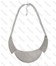 BIG COLLAR WEAVE NECKLACE texture metal BIB chain ANTIQUE GOLD/SILVER PLT choker