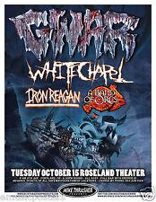 GWAR / WHITE CHAPEL /IRON REAGAN /BAND OF ORCS 2013 PORTLAND CONCERT TOUR POSTER