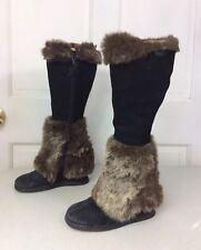 MIZ MOOTZ Fur Boots Leather Women's 7