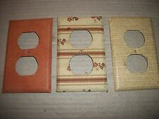 Lot Of 3 Vintage Single Outlet Covers Made Of Metal Covered With Wall Paper
