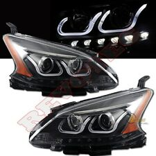Black i8 Style U Bar LED Projector Headlights For 13-14 Nissan Sentra 1 Pair