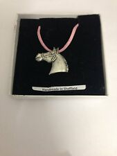 Horse Head E10 Horse  Motif Pewter  PENDENT ON A PINK CORD Necklace