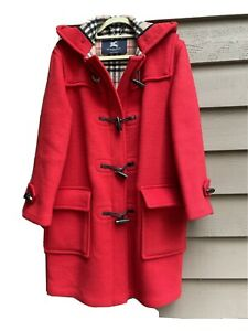 Burberry duffle wool coat red 6R mint condition