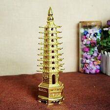 Antique Chinese Statues Temple 9 Floor Wenchang Buddha Tower Stupa Pagoda Gold
