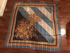 "Large Rare Vintage VALENTINO Silk Scarf By Stratos 53"" Square Blue Black Gold"