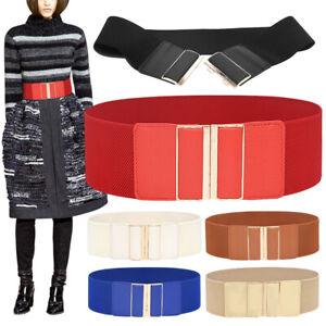 Women Girl Elastic Waist Belt 7.5cm Wide Stretch Belt Dress Coats Clothes Belts
